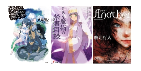 Left to Right: DanMachi, A Certain Magical Index, Another